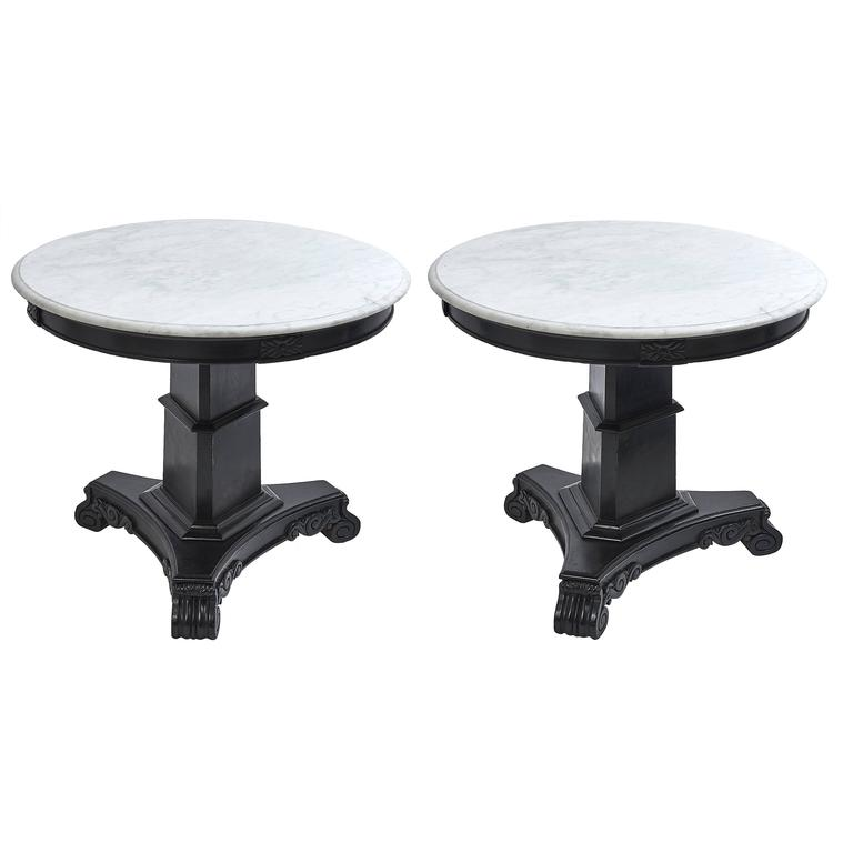 Pair of Anglo Indian Marble and Ebonized Wood Side Tables, 19th Century