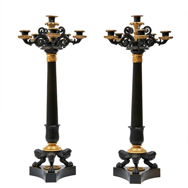 Pair of French Louis Philippe Bronze and Ormolu Candelabra, circa 1860 For Sale