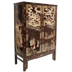 Chinese 19th Century Coromandel Two-Door Cupboard