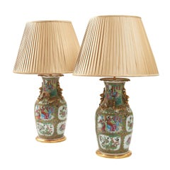 Pair of 19th Century Chinese Famille Rose Vases Wired as Lamps