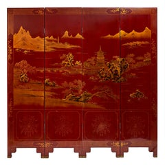 French Chinoiserie Red and Gilt Lacquer Four-Fold Screen, circa 1950
