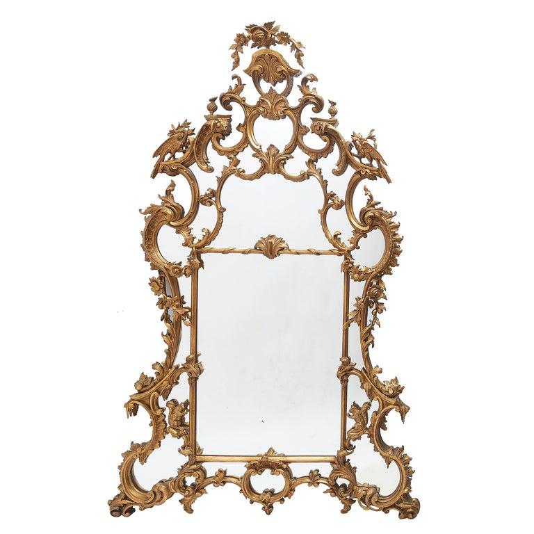 English Giltwood Rococo Style Mirror, after Thomas Johnson, Victorian