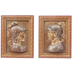 Pair of Italian Grand Tour Painted Plaster Reliefs, 19th Century