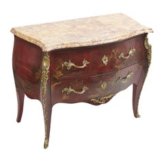 French Chinoiserie Commode with Brocatelle Top, Attributed to Jansen, circa 1950