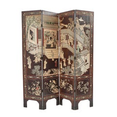 Chinese Coromandel Four Fold Screen, 19th Century