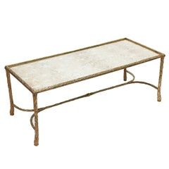 French Bagues Style Mirrored Top and Bronze Base Coffee Table, circa 1950