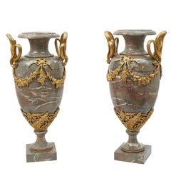 Pair of Large Napoleon III Marble and Gilt Bronze Urns, circa 1880