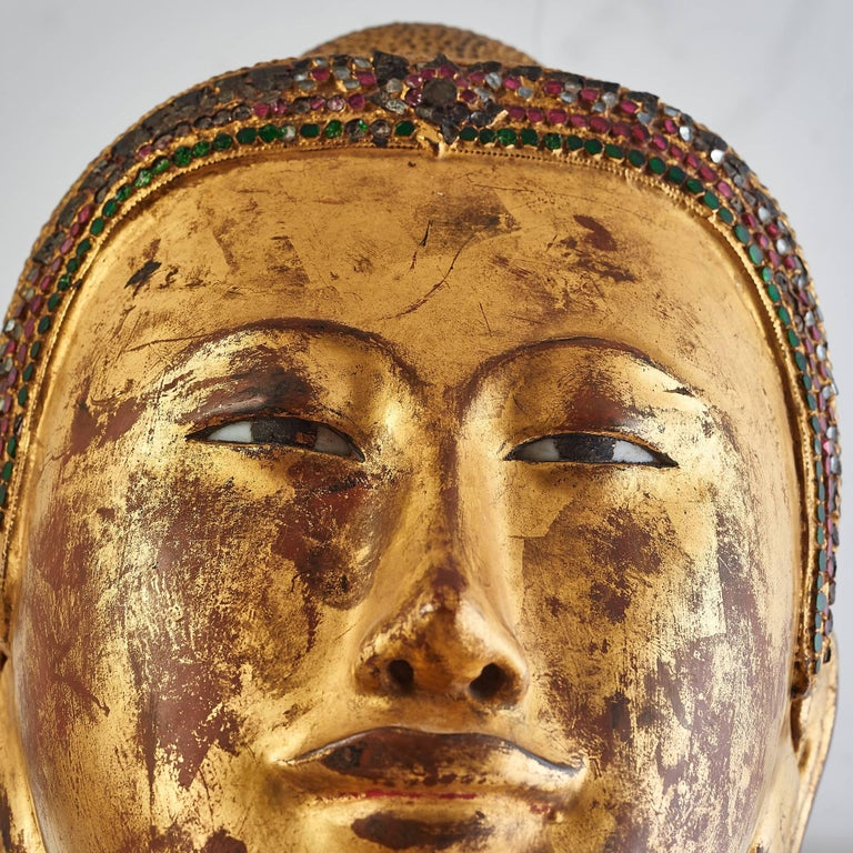 Life size Giltwood Thai Buddha with Coloured Glass Inlay, 19th Century For Sale 2