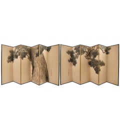 Pair of Six-Fold Japanese Paper Screens of a Pine Tree