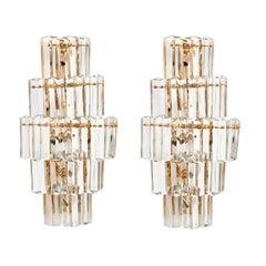 Pair of Italian Cut Crystal Drop Wall Lights with Gilt Brass Mounts, circa 970