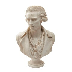 French Plaster Cast of Self Portrait Bust by Philippe-Laurent Roland