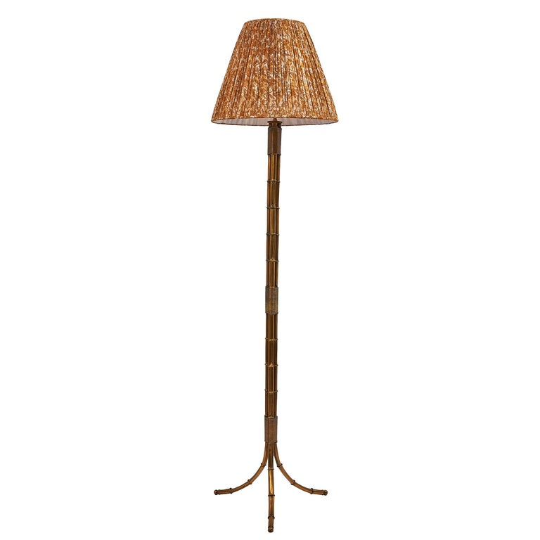 French 1960s Faux Bamboo Standard Lamp, Attributed To Maison Jansen