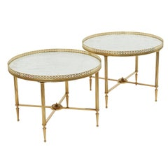 Pair of Brass and Marble Circular End Tables, Maison Jansen 1960s