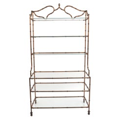 French Gilt Iron Faux Bamboo Étagere or Baker's Shelves, circa 1940