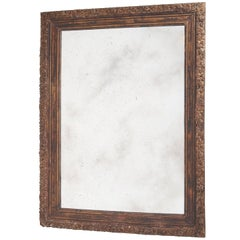 """Carved Wooden Frame Mirror with """"Distressed"""" Mirror Plate, circa 1930"""
