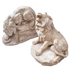 Set of Plaster Sculptures of Male Lions, circa 1940