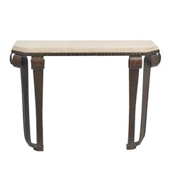 Hammered Iron Art Deco Console with Travertine Top, after Subes, circa 1930