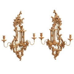 "Pair of Italian Silver Leaf ""Chinese Pagoda"" Style Mirrored Wall Sconces"