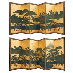 Pair of Six Fold Japanese Screens of Pine Trees and Rolling Hills, 20th Century