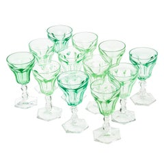 Set of 12 Uranium Green Val Saint Lambert Glasses, Belgium, 1950s