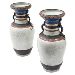 Pair of Early 20th Century Chinese Crackleware Porcelain Vases