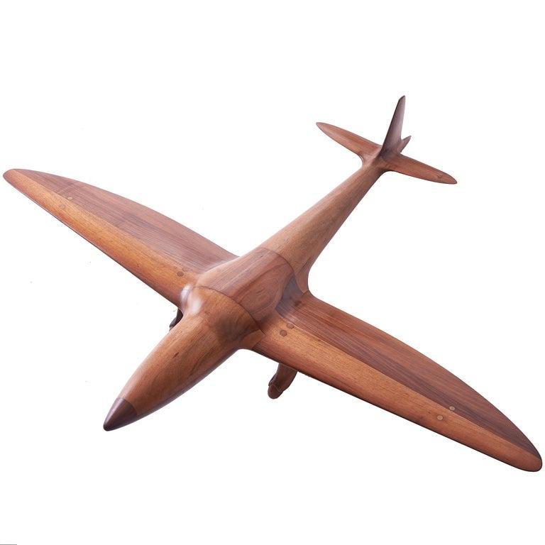 English Carved Walnut Model Aeroplane, circa 1950