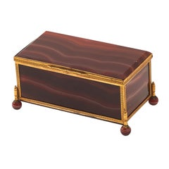 French Palais Royale Banded Red Agate Casket, circa 1860