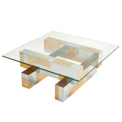 Paul Evans Cityscape Chrome Paneled Coffee Table with Glass Top, circa 1970