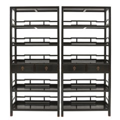 Pair of Chinese Black Lacquered Open Bookshelves, Shanxi Province, 19th Century