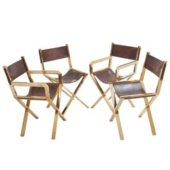 "Set of Four Italian Brass ""Director's"" Chairs with Slung Leather Seats"