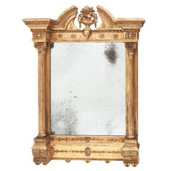 Carved Giltwood Georgian Irish Mirror, Dublin, circa 1830