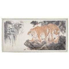 Japanese Painted Silk Tiger Panel, circa 1900