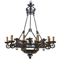 Large French Wrought Iron Eighteen-Light Chandelier, circa 1890