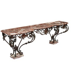French Louis XV Style Large Wrought Iron Console Table, circa 1880