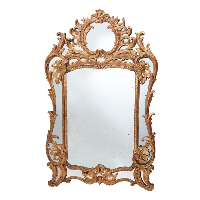 French Large Giltwood Foliate Carved 'Parecloses' Mirror, circa 1860 For Sale