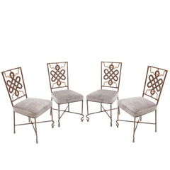 Set of Four French Fournier Décoration Lacquered Iron Chairs, Paris, circa 1980
