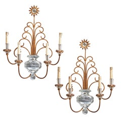 Pair of Italian Baguès Style Iron and Glass Urn Shaped 4-Light Wall Sconces