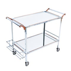 French Steel and Copper Bar Trolley with Mirrored Surfaces, circa 1970