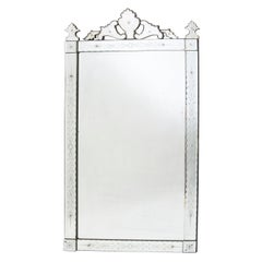 French Venetian Style Pier Mirror with Foliate Crest, circa 1910