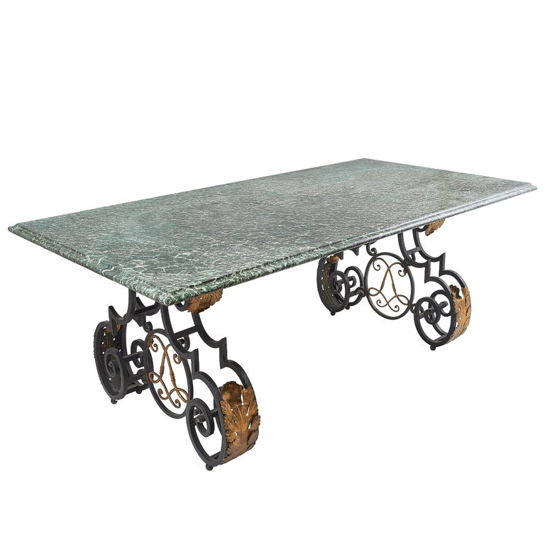 French Wrought Iron Base Dining Table Vert Maurin Marble Top Circa 1950 For