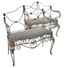 Matched Pair of French Wrought Iron Settees, circa 1890