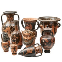 Collection of Eight Attic Style Black and Red Terracotta Vases, circa 1930