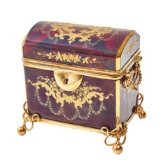 Ruby Red Glass Moser Casket with Gilt Overlay, Bohemian, circa 1860