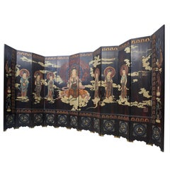 12 Panel Chinese Coromandel Screen with Guanyin, Quing Dynasty