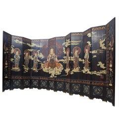 12 Panel Chinese Coromandel Screen with Guanyin, circa 1930