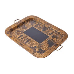 Regency Black Lacquer and Gilt Tray by Henry Clay, King Street, circa 1820