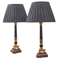 Pair of French Louis Philippe Bronze and Ormolu Triform Base Lamps, circa 1860
