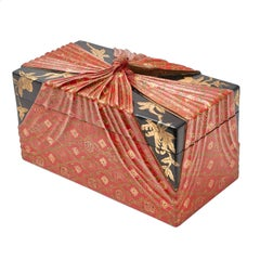 Lacquered Chinese Box in the Form of Cloth Wrapped Lunch Box, circa 1900