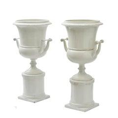 Matched Pair Paris Porcelain Classical Creamware Vases, circa 1850