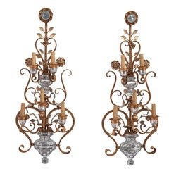 Pair of Italian 'Bagues' Style Gilt Metal & Glass Wall Sconces by Banci